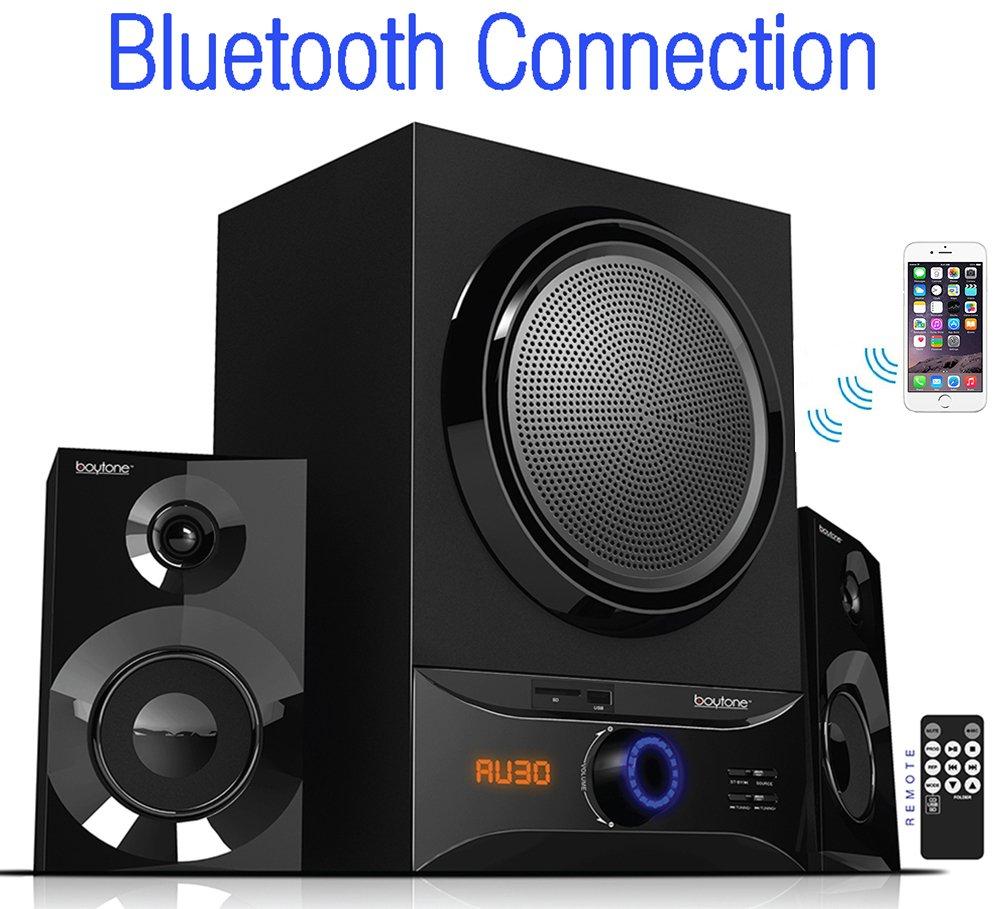 Boytone BT-209FB, Ultra Wireless Bluetooth Main unit, 30 watt, FM radio, remote control, Aux Port, USB/SD/ for Smartphone's, Tablets, Desktop Computers, Laptops, TV, Black finish by Boytone