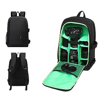 mochilas para cámara deportiva Sannysis mochilas impermeables grande para Canon, cámara de viaje hombro llevar bolsa de transporte para cámara (Verde): ...