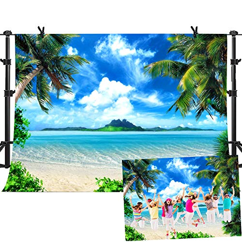 Palm Tree Photo - MME Summer Beach Backdrops for Photography 10X7ft Vinyl Blue Sea and Sky Background Palm Trees Photo Backdrop for Photo Booth