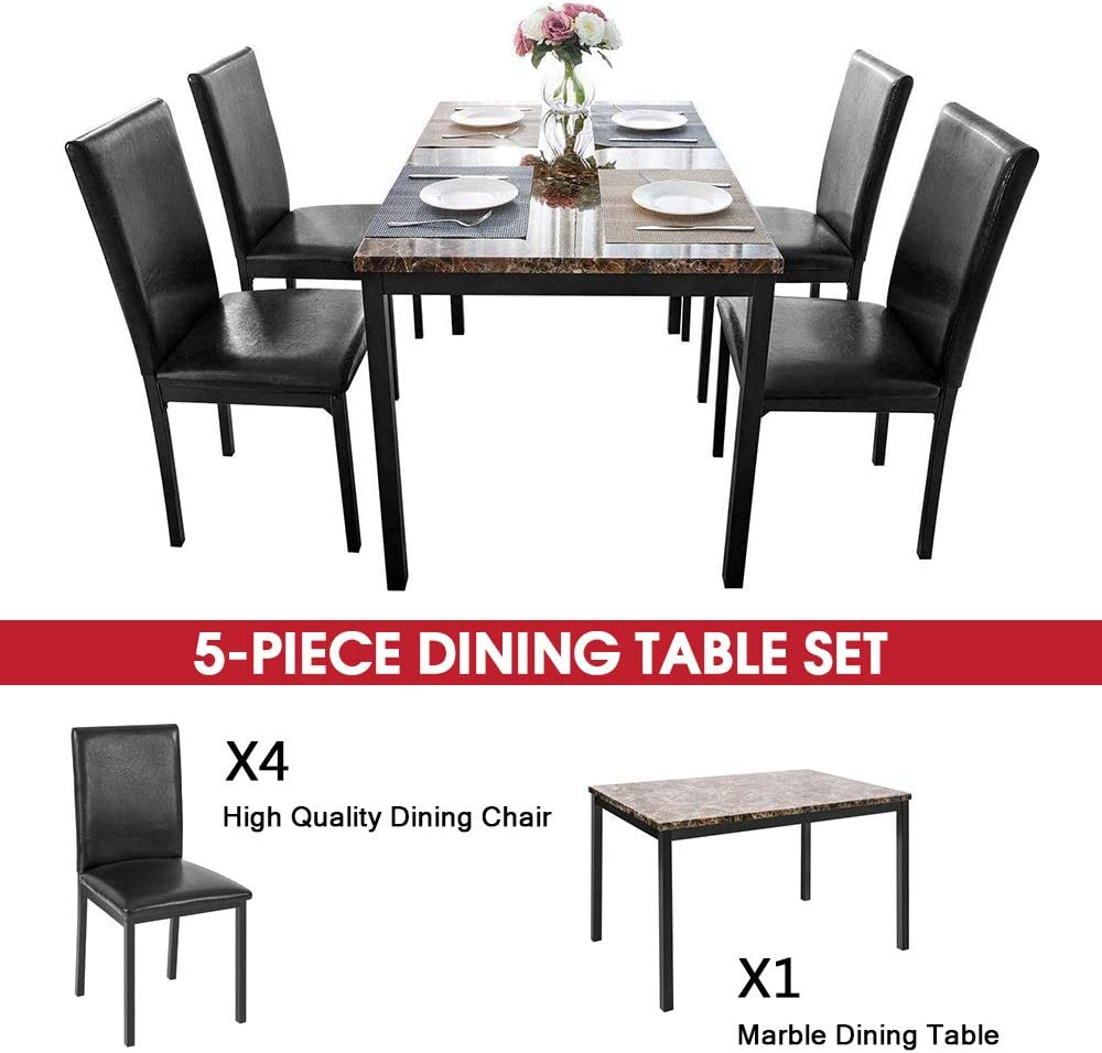 Kitchen Table and Chairs for 9 Black Hooseng 9 Piece Faux Marble ...