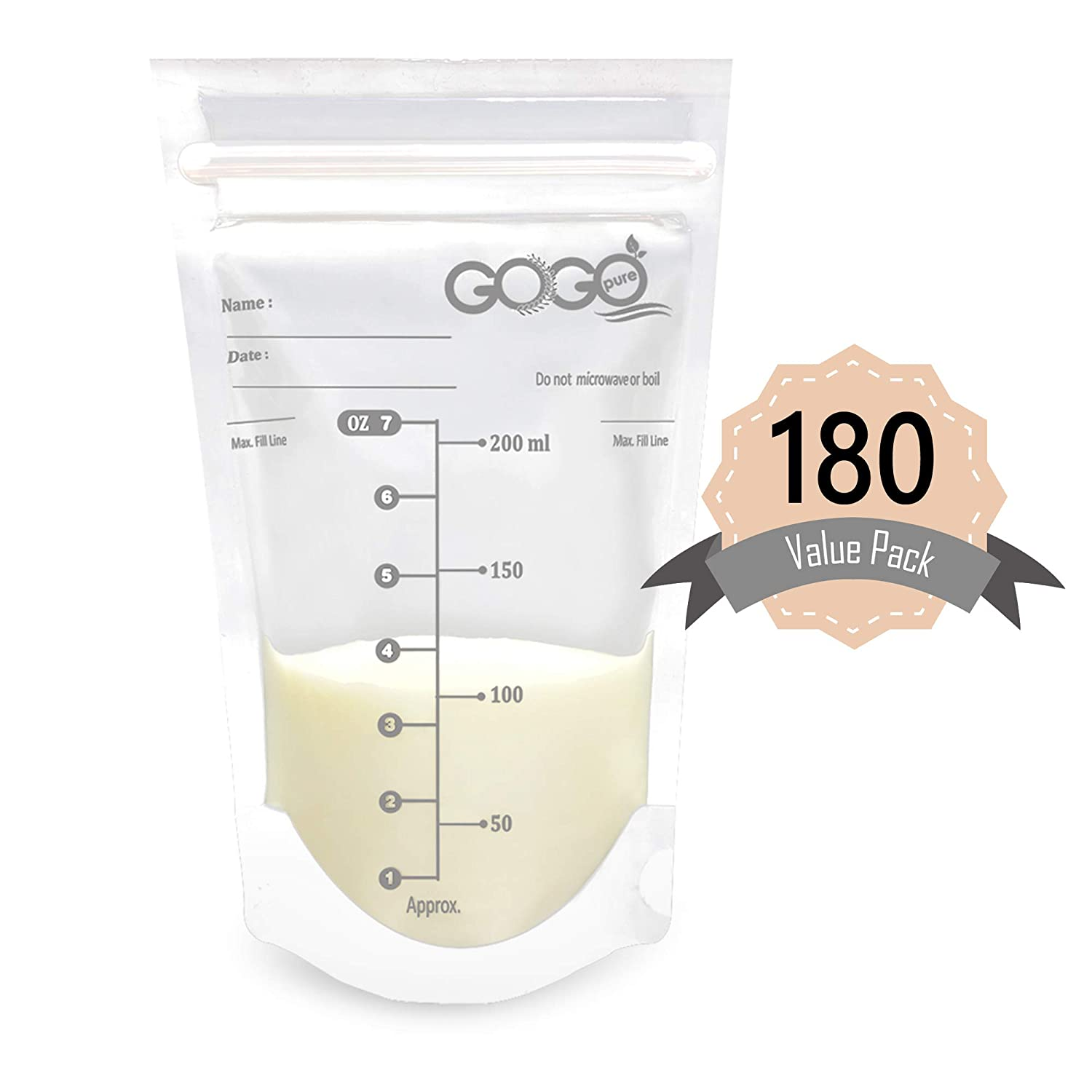 180 CT (3 Pack of 60 Bags) Value Pack Breastmilk Storage Bags - 7 OZ, Pre-Sterilized, BPA Free, Leak Proof Double Zipper Seal, Self Standing, for Refrigeration and Freezing - Only Available at Amazon