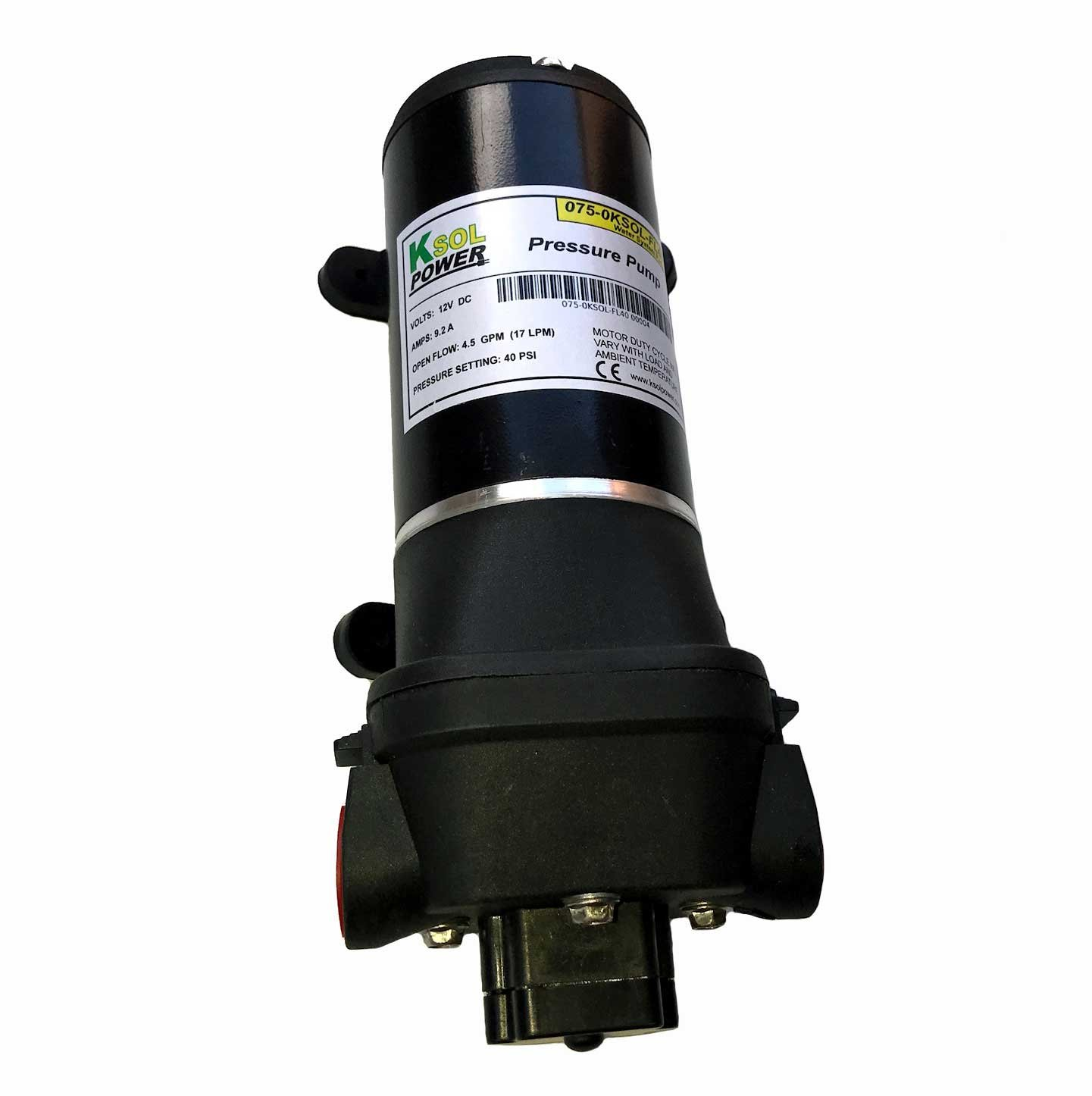Surface Diaphragm Water Pump - 12 Volt DC, 9.2 Amp, 40 PSI, 4.5 GPM, 1/2'' Hose Barb Fittings, Filter, KSOL Power