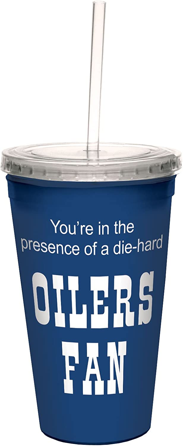Tree-Free Greetings Oilers Hockey Fan Artful Traveler Double-Walled Cool Cup with Reusable Straw 16-Ounce