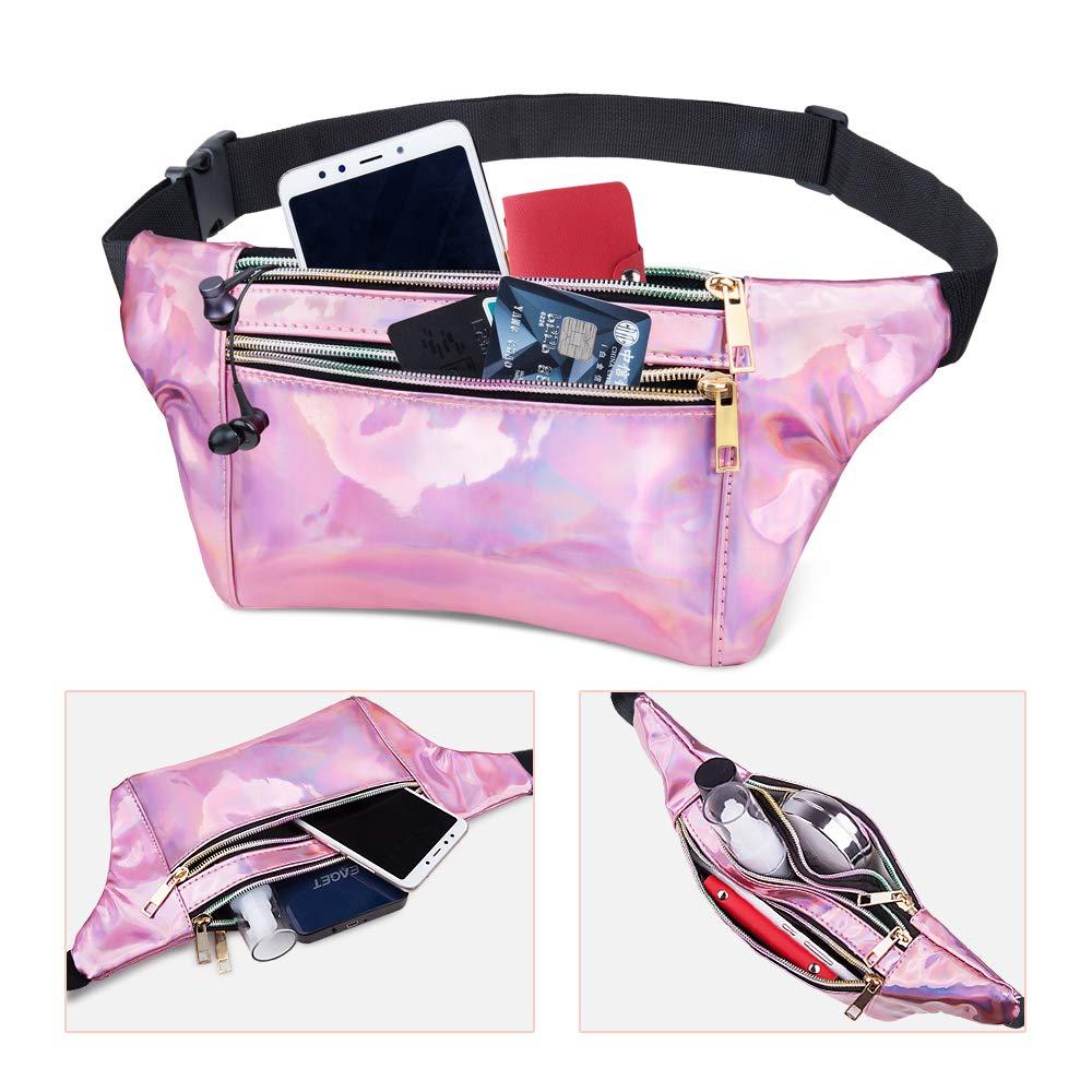 Shiny Causal Bags Cute Bum Bag Hip Sacks Travel Festival Hiking Rave Fashion Waist Pack 3 Pouches Adjustable Strap swelldom Fanny Pack Belt Bag Holographic Fanny Packs Women Men Kids
