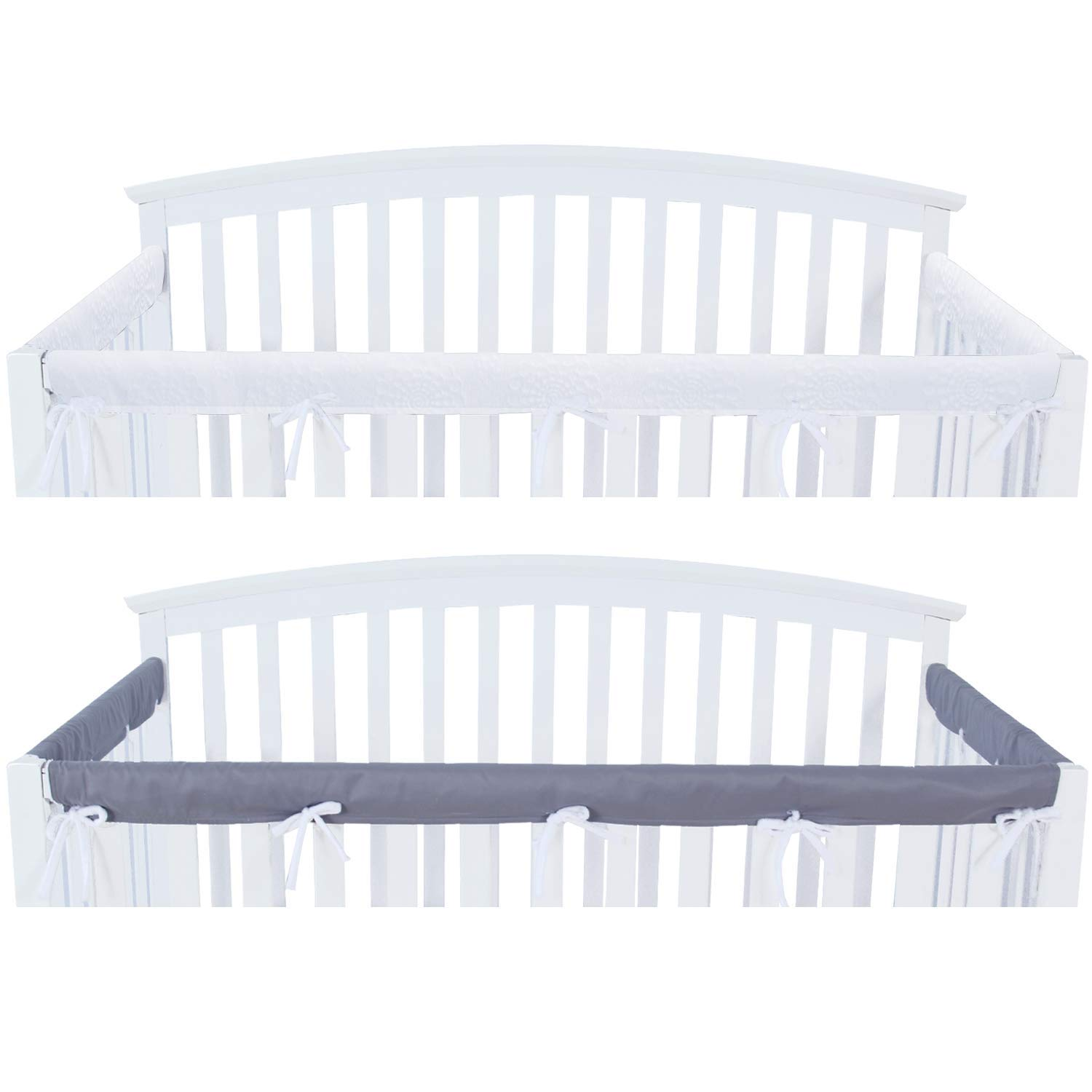 3 - Piece Crib Rail Cover Protector Safe Teething Guard Wrap for Standard Crib Rails, Fit Side and Front Rails, Grey/White, Reversible, Safe and Secure Crib Rail Cover. 61iAzeYK92BL