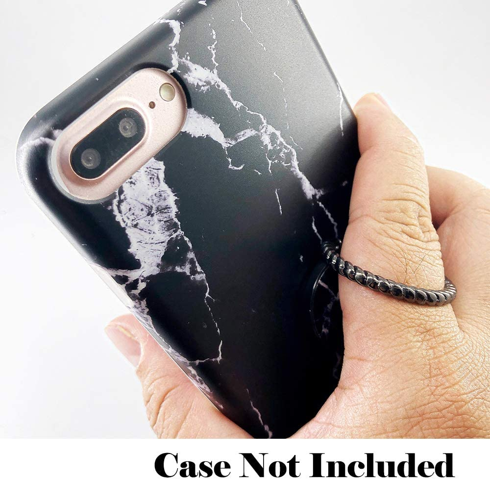 Black Marble Finger Ring Stand Cell Phone Black Holder Universal Phone Ring Kickstand Compatible with Phone Xs Max XR X 8 7 6 6s Plus Galaxy S10 S9 S8 Plus S7 and Other Smartphones