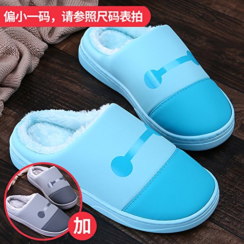 LaxBa Femmes Hommes chauds dhiver Chaussons peluche antiglisse intérieur Cotton-Padded Slipper chaussures gris bleu  +36/37  + 40/41
