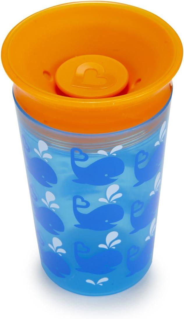 Munchkin Miracle 360/° 6oz // 177ml Vaso de entrenamiento antiderrames decorado Azul-Ballenas