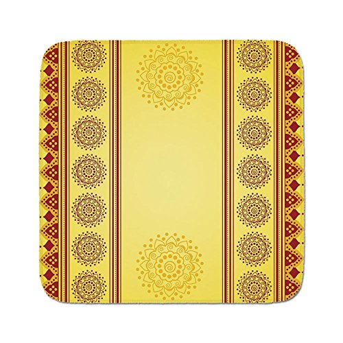 Cozy Seat Protector Pads Cushion Area Rug,Yellow Mandala,Traditional Indian Henna Style Banner Design Eastern Vertical Border Stripes,Yellow Red,Easy to Use on Any Surface