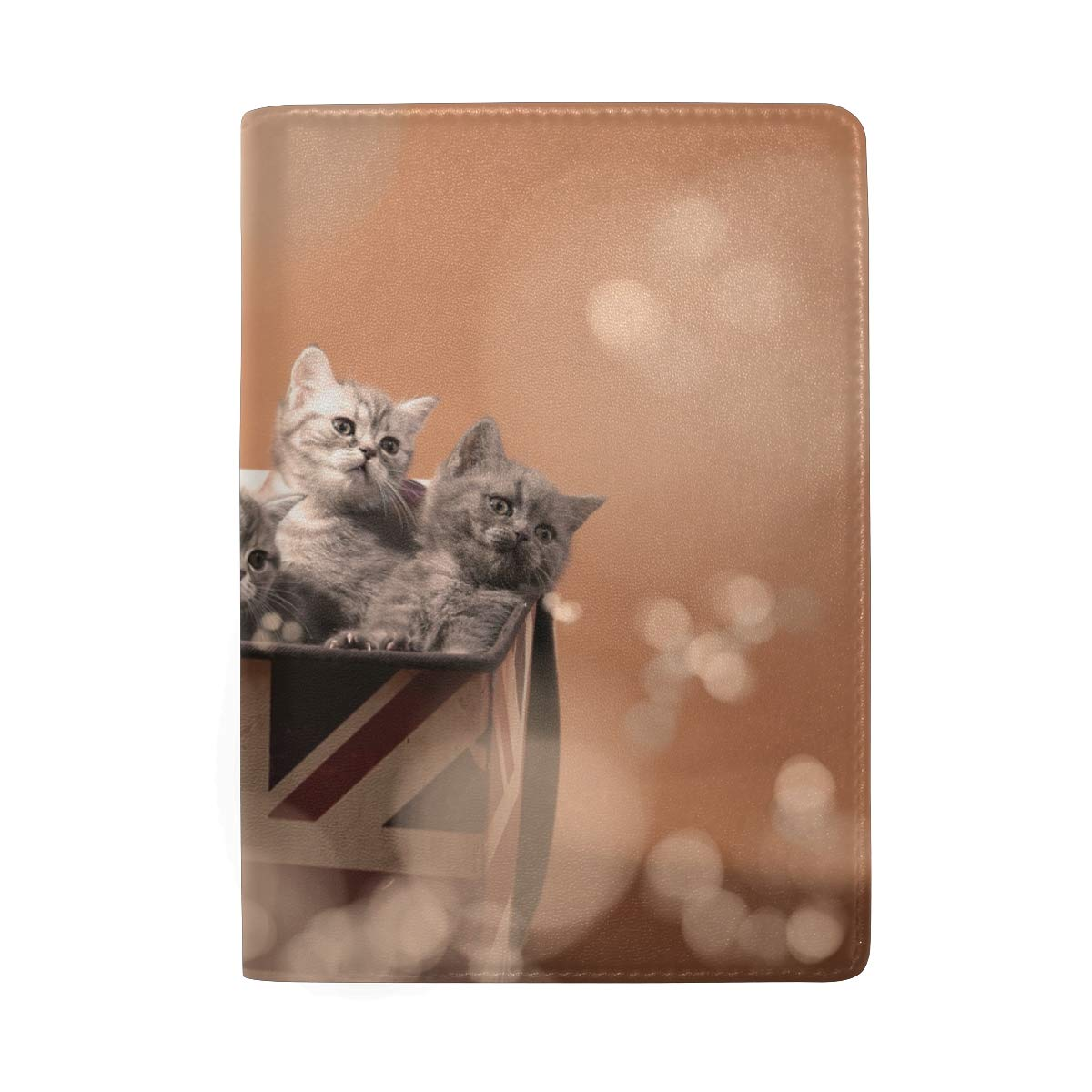 Cute Cat Small Kittens In Box Leather Passport Holder Cover Case Protector for Men Women Travel with Slots