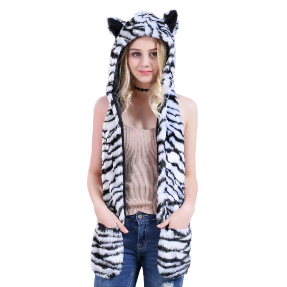 HomDSim Animal Hood Hoods Anime Spirit Furry Hoodie, Faux Fur Hat and Warm Scarf Mittens Gloves Spirit Ears and Paws, One Size fits Most