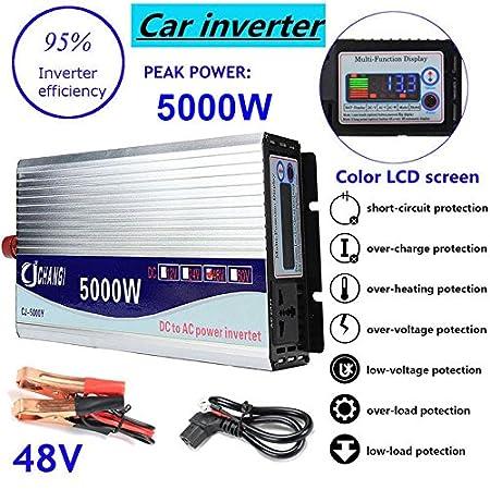 Espeedy Inversor de energía de onda sinusoidal modificada 5000W Peak DC12-48V a AC220V Converter + LCD: Amazon.es: Electrónica