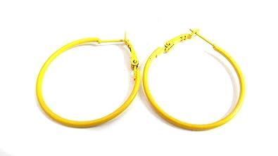 amazon com color hoop earrings simple thin hoop earrings 1 inch