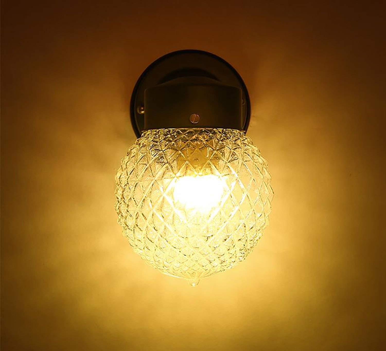 GZ Home Furniture Retro Wall Lamp Lampada da Parete a LED a Testa Singola in Vetro sferico Semplice