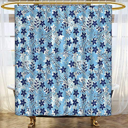 Mikihome Shower Curtains Fabric Extra Long Blue with Swirls Ivy Leaf Blue Sky Blue and White Bathroom Accessories W66 x H72 inch