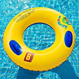 Adult Life Buoy, Swim Circle, Inflatable Summer Swim Ring, Water Toy for Beach Party. PVC Printing,80#90#100# (Size : 100#with Handle)