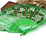 Green Luxury Rose Pattern Glitter Floral Lace Hand Fan Party Dance Folding Hand Fan Dance Party Kraft Gifts