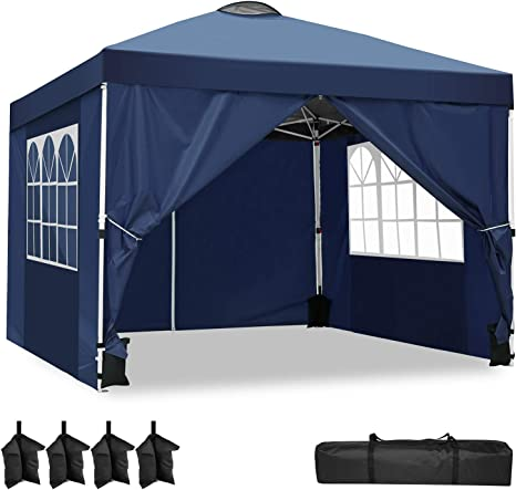 YUEBO Carpas Plegables, Carpa 3x3 m con 4 Laterales Cenador Plegable Impermeable Pop Up Gazebo Carpas para Exteriores, Jardin, Terraza, Camping