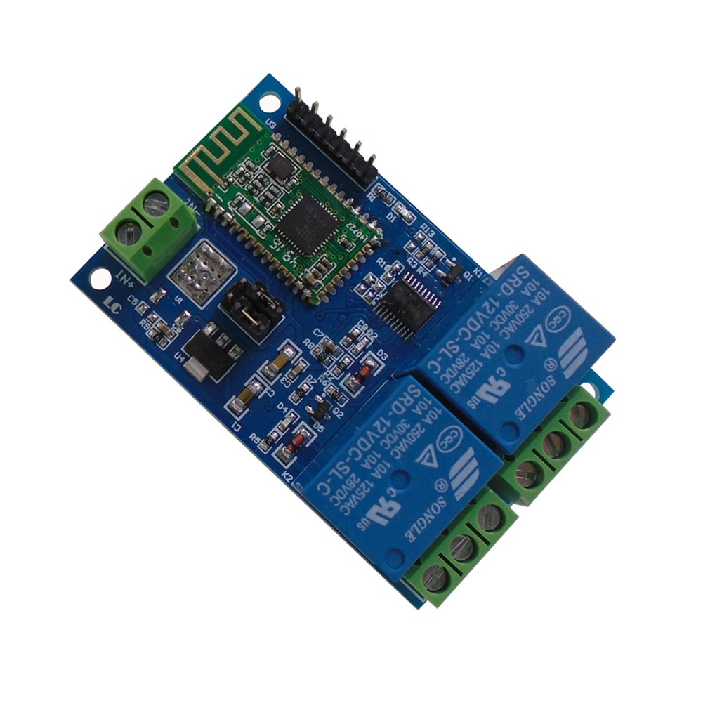 DSD TECH 2 Channels Bluetooth Relay module for Remote Control switch Compatible with iPhone and Android 4.3