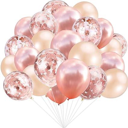 Amazon.com: Juego de 60 globos de oro rosa de 12 pulgadas ...
