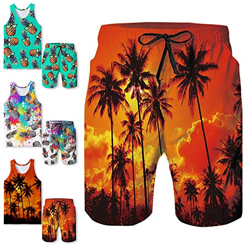 Freshhoodies Mens Hawaiian Swim Trunks Coconut Palm Tree Boardshorts with Mesh Lining Swimwear Bathing Suits Shorts (Coconut-11, -