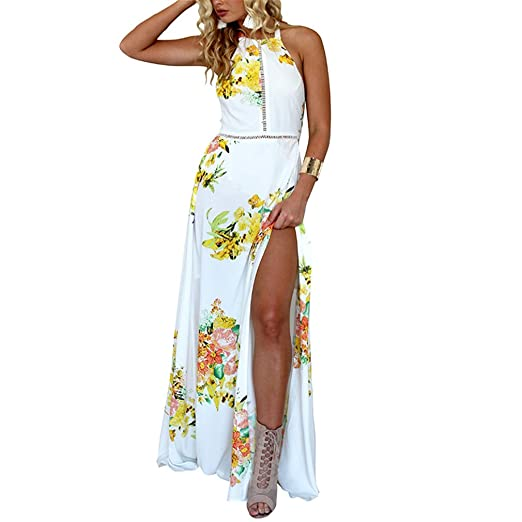 67b57ed6dc8 lokp Women Summer Beach Floral Print Boho Maxi Dress Halter Sleeveless  Hollow Out Sexy Backless Chiffon