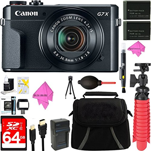 Canon PowerShot G7 X Mark II 20.1MP 4.2x Optical Zoom Digital Camera + Two-Pack NB-13L Spare Batteries + Accessory Bundle by DigitalUniverse