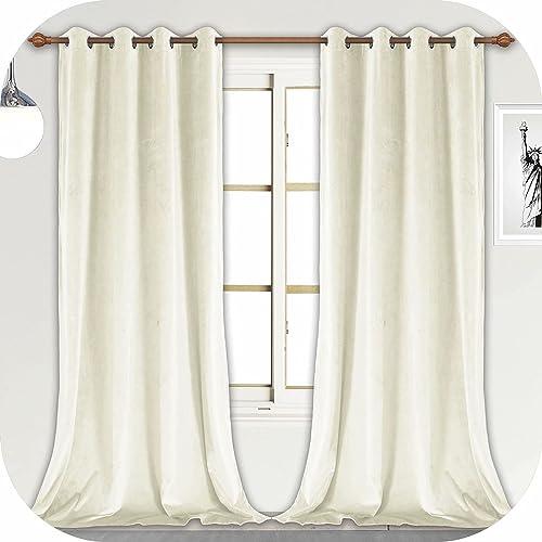 ZHAOFENG Cream White Velvet Curtains