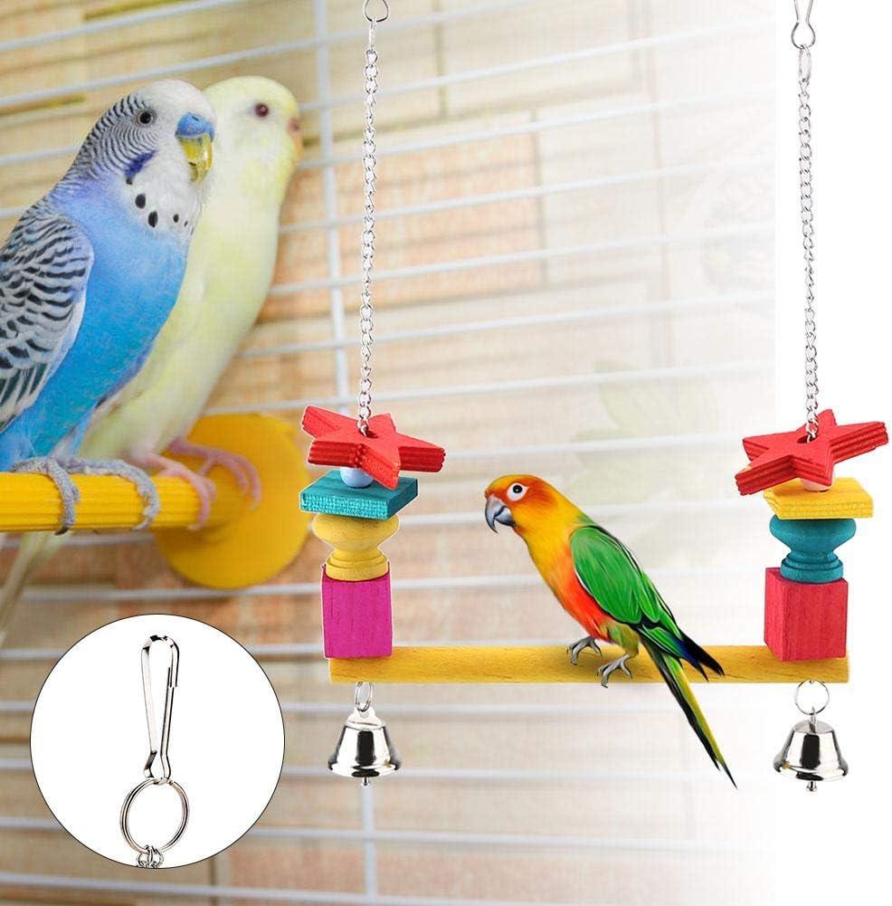 Pájaros Swing Toy, Colgante Soporte de Madera Bar Masticar Escalera Juguetes con Campanas para Loros Periquito Budgie: Amazon.es: Productos para mascotas