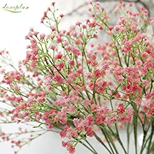 80 Mini Heads 1PC DIY Artificial Baby's Breath Flower Gypsophila Fake Silicone Plant for Wedding Home Party Decorations 8 Colors 15