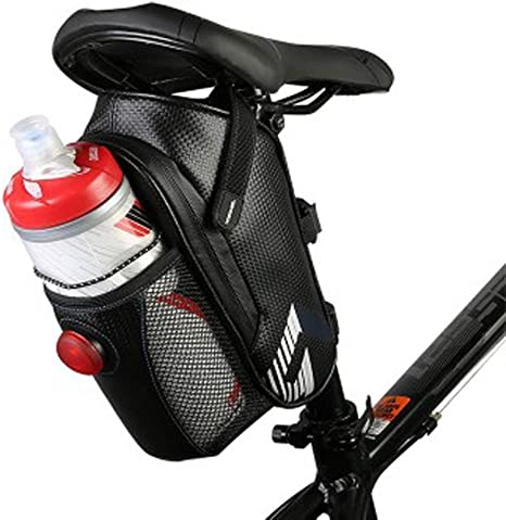 Details about  /Bike Saddle Bag with Water Bottle Portable Bike Seat Bag Waterproof with Zipper