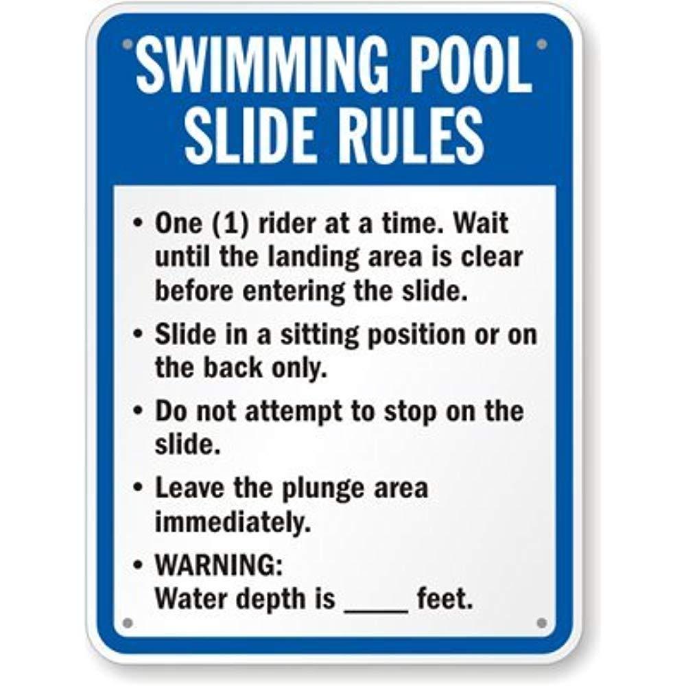 Amazon.com: Letrero de reglas de deslizamiento para piscina ...