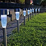 Solar Garden Lights Pack of 8,D&L LED Outdoor Waterproof Stake Post Light for Lawn,Pathway, Landscape,Patio