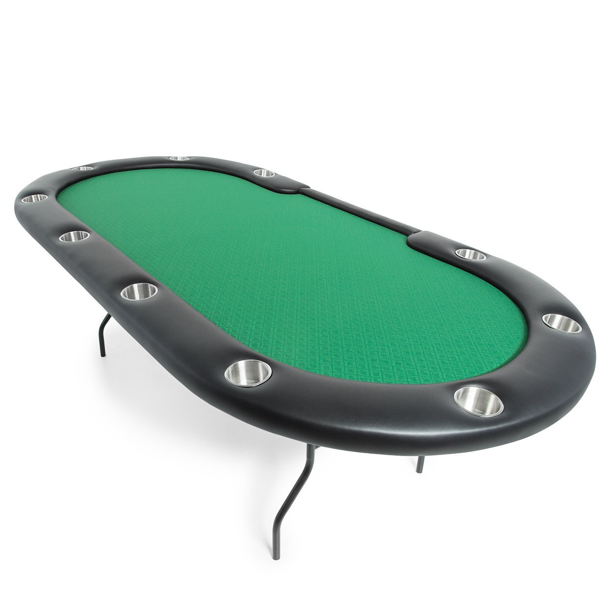 BBO Poker Aces Pro Folding Poker Table for 10 Players with Green Speed Cloth Playing Surface, 96-Inch Oval