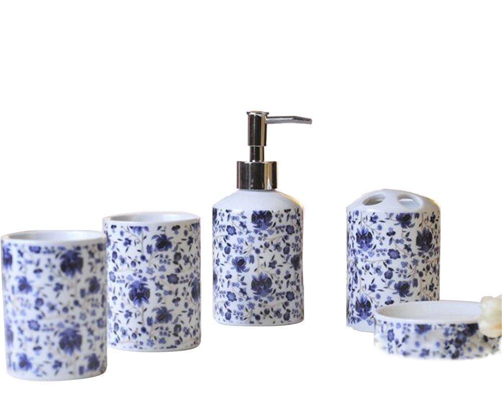 JynXos Ceramic 5 Pieces Bathroom Accessory Set With Blue Floral Lavender Emsemble Sanitary Ware Home Decor Bath Ideas Home Gift