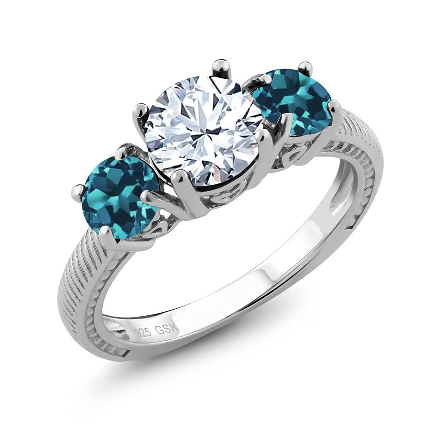 2.40 Ct Round White Topaz London Blue Topaz 925 Sterling Silver Ring