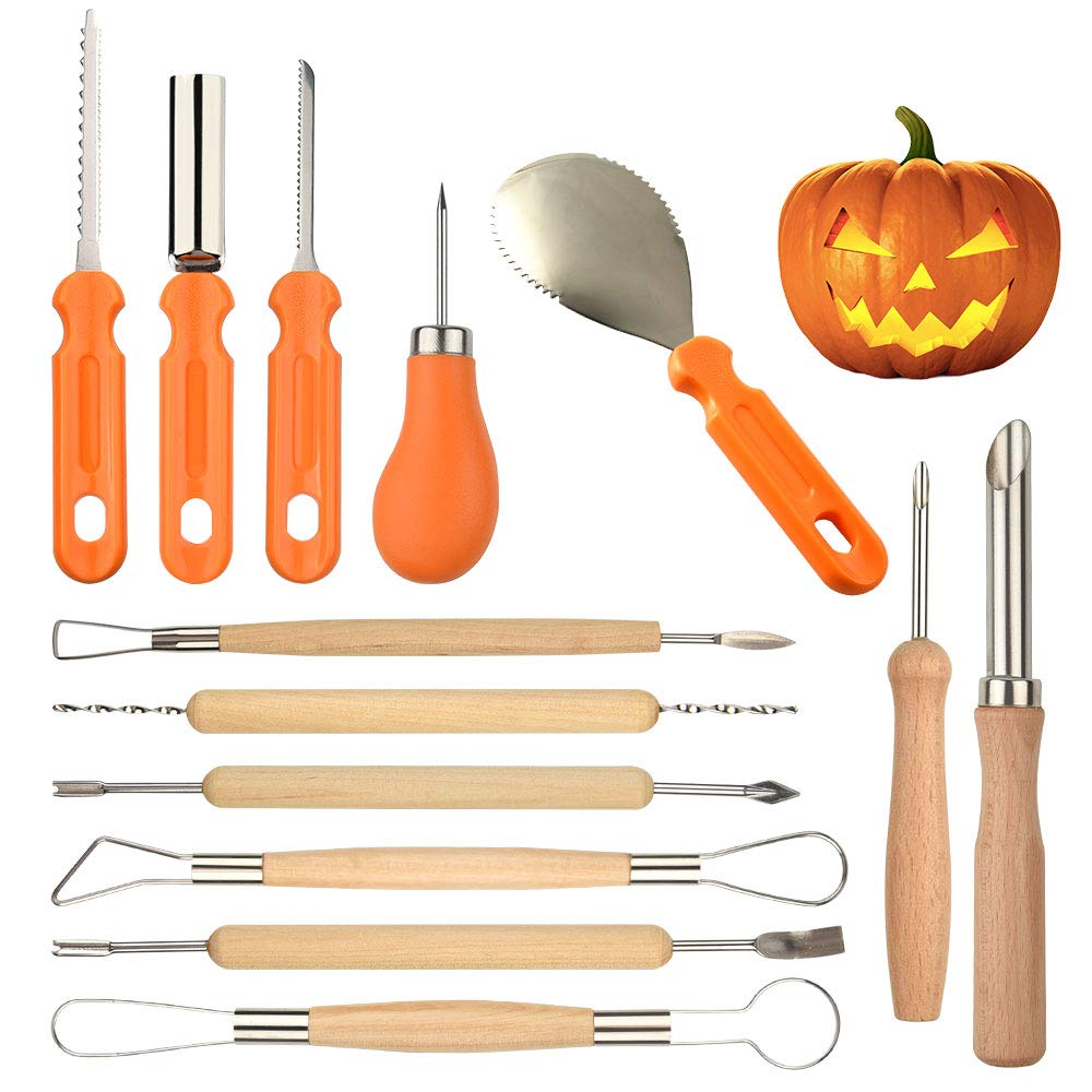 TUPARKA 13Pcs Pumpkin Carving Kit, Ultimate Sculpting Tools Pottery Art Set Sturdy Stainless Steel Pumpkin Tools Knifes Melon Fruit Kitchen Carving Cutter for Halloween Decoration