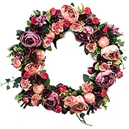 Door Wreath Silk Rose Heads Wine Red Home Wall Decor 18\