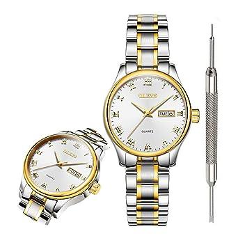 Amazon.com: OLEVS - Reloj analógico de cuarzo con correa de ...
