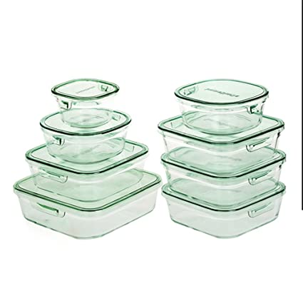 Wly&Home Cereal Dispensers High Temperature Glass Food Container Sealed Leakproof Glass Bowl Oven Microwave Bowl 8Pcs