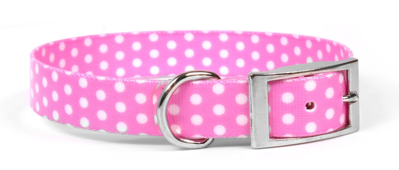 New Pink Polka Dot Waterproof and Odorproof Adjustable Dog Collar - 3/4'' W x 20'' L - Made in The USA
