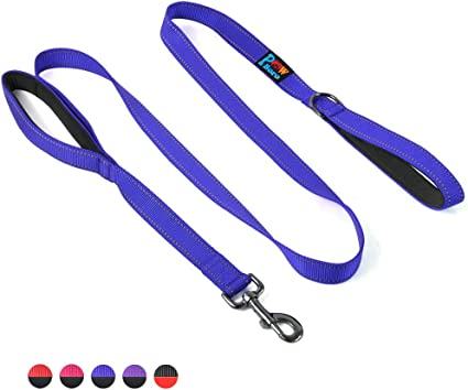 6ft Double Handle Dog Leash Heavy Duty Traffic Padded Reflective Stitching Lead