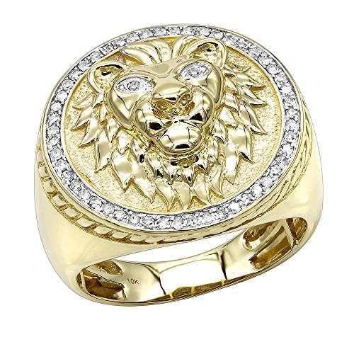 10K Solid Gold Lion Head Diamond Ring for Men Pinky Rings 0.3ctw (Yellow, Size 11)