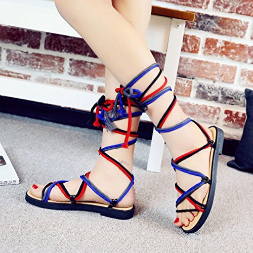 Transer® Ladies Cross-tied Bandage Flat Sandals- Women Summer Roman Sandals Comfortable Casual Shoes Red 3oXVK