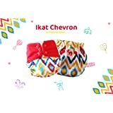 Superbottoms Plus Uno Reusable Cloth Diaper with 2 Certified Safe Organic Cotton Inserts (Ikat Chevron)