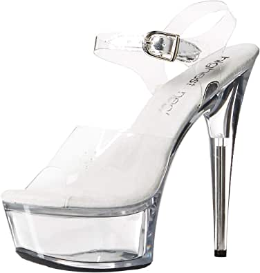 The Highest Heel Womens Amber 821 Clear Strap Sandals with Solid Platform Transparent Size: 10 US / 10 AU