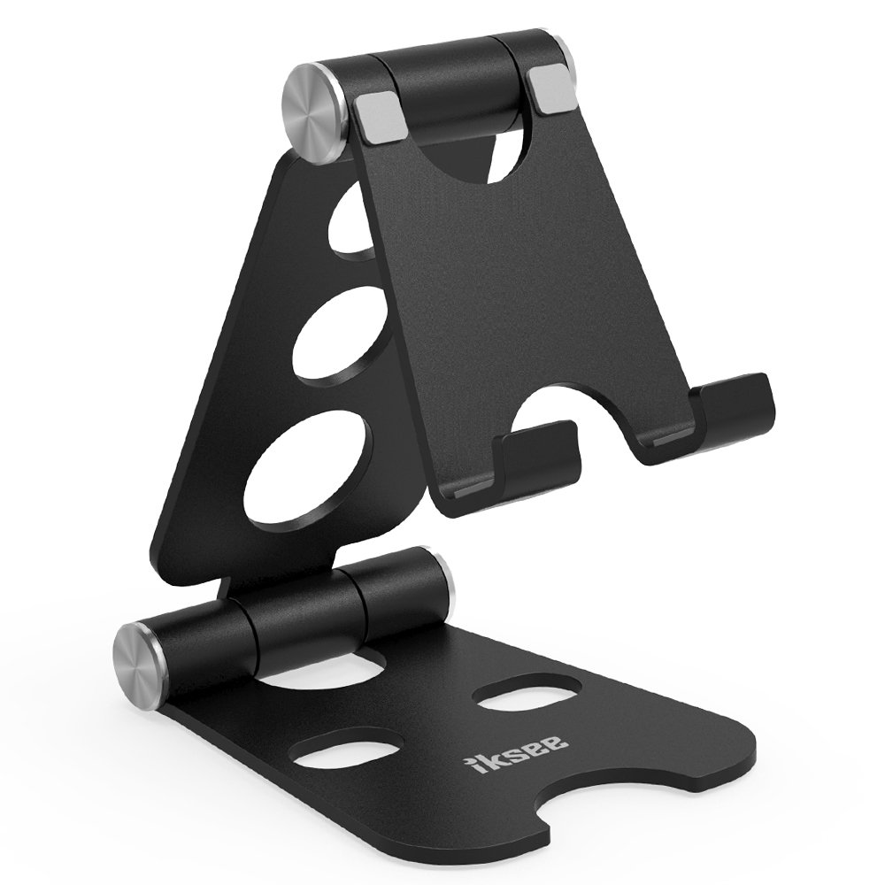 Adjustable Cell Phone Stand, iKsee Smartphone Tablet Stand, Dual Foldable Phone Holder, Cradle for iPhone 8 X 7 6 6s Plus 5 5s 5c Tablet E-Reader(4-13''), Desk Accessories-Black