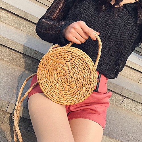 rond Sac Tote à Paille à Style Unique Mode simple main straw à fermeture main Forme Sac tissé Sacs Éclair Harajuku YTTY Femme Large Paille à Sacs certificat bandoulière z5wOaa