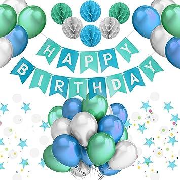Pushingbest Geburtstagsdeko Party Deko Set Blau Alles Gute Zum