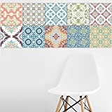 Wishiwin 20 PCS/Set Tile Stickers Art Decorative Traditional Backsplash Simulation Kitchen Bathroom Stairs Square Waterproof Removable Home Tidy Protection 7.87x7.87/4x4/6x6 inch